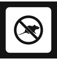 Prohibition sign mouse icon simple style vector image vector image