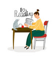 reading girl icon vector image vector image