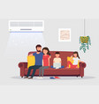 room with air conditioning and people on couch vector image vector image