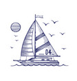 sailing yacht in sea sketch vector image