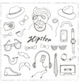 set hipster style symbols sketches vector image vector image