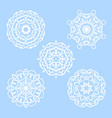set of five round snowflakes mandala vector image vector image