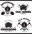 set of mining or construction logos badges vector image