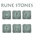set of square grey rune stones vector image