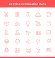 Set of Thin Line Stroke Education Icons vector image vector image