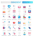 set of trendy flat gradient dental care vector image