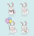 set rabbit cute animal with balloons and scarf vector image vector image