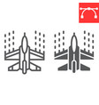 spaceship shooting line and glyph icon video vector image vector image