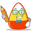 student with pencil candy corn character cartoon vector image vector image