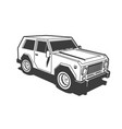 suv car 3d black and white stamp
