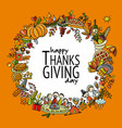thanksgiving day hand drawn frame for your design vector image vector image