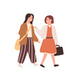 two schoolgirl with bags going to primary school vector image vector image