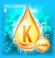 vitamin k phylloquinone vitamin gold oil vector image