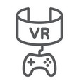 vr gaming line icon device and entertainment vector image vector image