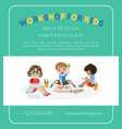 workshop for kids banner template with cute boy vector image vector image