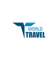 world travel agency letter t icon vector image vector image