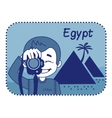 Teaser with photographer travels through Egypt vector image