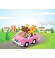 animals in a car vector image vector image