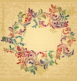Antique bright floral frame on grungy parchment vector image