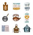 apron and saucepan bagel and wooden board vector image vector image