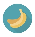 Banana flat icon with long shadow vector image
