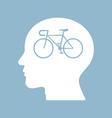 bicycle brain think man head vector image vector image