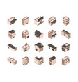 building isometric style icons set vector image vector image