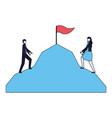 businessman and woman climbing mountain flag vector image vector image