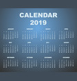 calendar 2019 back vector image vector image