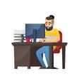 cheerful bearded man at computer vector image vector image