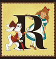 children book cartoon fairytale alphabet letter r vector image