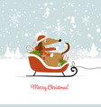 christmas card santa dog with gifts symbol of vector image
