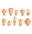 collection greek vases in ancient style as vector image