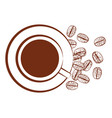 cup of black coffee and scattered coffee beans vector image