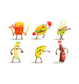 fast food dishes funny characters fighting set vector image vector image