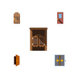 flat icon approach set of entry door wooden vector image vector image