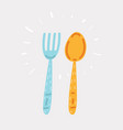fork and spoon hand drawing vector image