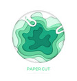 green abstract layout - paper cut banner vector image