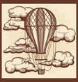 hand drawn clouds and air balloon vintage vector image vector image