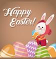 happy easter card rabbit girl egg festive vector image vector image