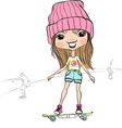 Hipster baby girl riding a skateboard