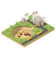 isometric mining industry template vector image vector image