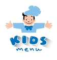 Kids Menu logo with funny cook boy vector image vector image