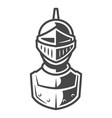 knight metal helmet front view template vector image