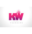 kw k w letter logo with pink purple color and vector image vector image