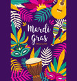 mardi gras flyer poster or party invitation vector image vector image
