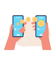mobile money transfer hands hold smartphones vector image