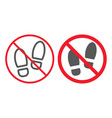 no shoes line and glyph icon prohibition vector image vector image
