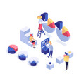 people interacting with charts isometric vector image