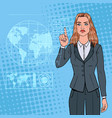 pop art business woman using holographic interface vector image vector image